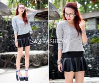 SZ059 2014 New Fashion Womens Spring Summer Autumn Winter Skirts Laminated Mini Leather Sexy PU Skirt S-XL S&Z