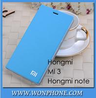 Free shipping Fashion Flip case for XIAOMI mi3/ HONG MI / Red rice NOTE case