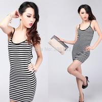 New Spring Summer 2014 Women Casual Stripe Backless Sleeveless Dress Super Mini Deep V Spaghetti Strap Vests Tops Free Shipping