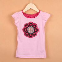 2014 child hot bead small butterfly sleeve children's clothing female child 100% short-sleeve cotton t-shirt