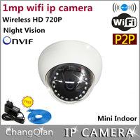 ip camera 720p wifi 1mp dome mini  cctv cameras p2p  ONVIF Wireless (1.0Megapixels) Security  Phone monitoring  Night Vision