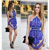 Three Floor Dress Blue,black  2014 summer women sexy fashion dress  star Long Sleeve designer fashion patchwork lace dress slim