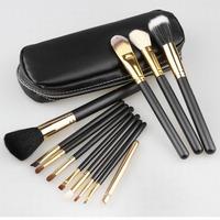Wholesale Professional 12pcs Golden Goat Hair Makeup Brush Set  Cosmetic Make Up Set with 2 Case Bag Kit, Free Shipping