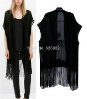 Spring Summer Fashion Women's Black Chiffon Embroidered Tassels Loose Kimono Long Cardigan Shirts No button Blouses Black Tops