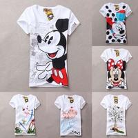 2014 New  Women T Shirts Short Sleeve Print Mouse T-Shirts Cartoon Tops D06