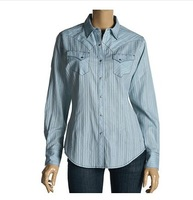For ariat elsa shirt Sky Blue clip silveryarn women's long-sleeve shirt plus size shirt