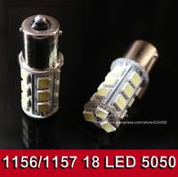 10pcs/lot 18 LED 5050 SMD 1156 BA15s 18smd 18led 18 smd White Car Bulb Stop Tail Brake Light Rear Lamp
