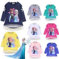 Frozen Olaf Shirts Elsa & Anna 2014 T Shirt For Girl Princess Cartoon Children Kids Girls Summer Clothing  T Shirt Frozen XLL448