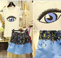 Print big eye white beading Tee-shirt blouse top &color block floral blue short puff skirt women twinset clothing set 2014 lady