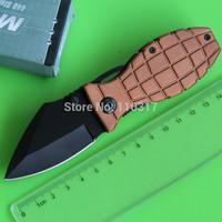 3 colors, Novel Mini EDC, Grenade Knife, black oxide folding blade,aluminum handle with pocket clip, free shipping