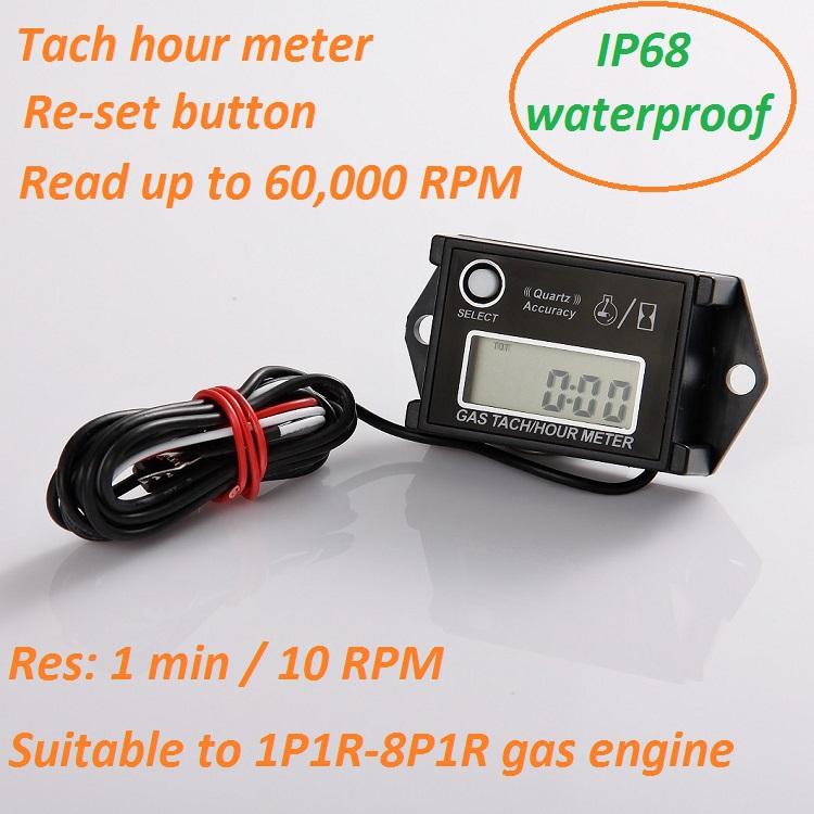 50pc/lot réinitialisable tachymètre compteur d'heures pour la marine, moto, snowmobil, atv, scies à chaîne