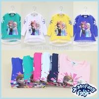 Free shipping! Girls Cartoon Frozen T-shirt Cute Anna Elsa Pattern Long Sleeve Tees Children Kids T Shirt Spring Autumn Clothing