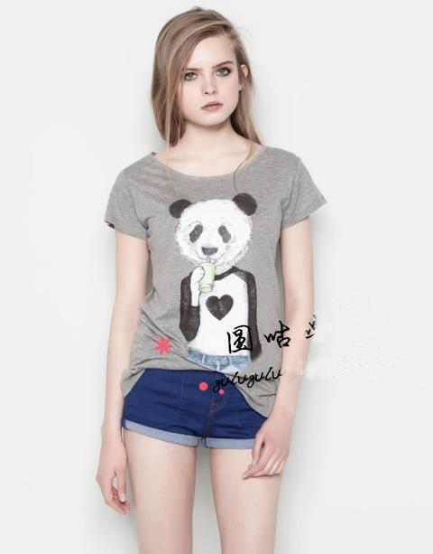 Brand 2014 new fashion women T-shirt summer cartoon Mr. panda printing casual all-match T-shirt for girl XZ003(China (Mainland))