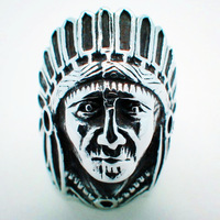 Hot Sell 316L Surgical Steel Unique Cool Indian Tribe Chief Rings For Men Punk Jewelry Wholesale Price