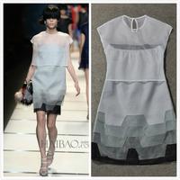 2014 Summer new arrival runway fashion women's high quality Gradient silk dress 25-09