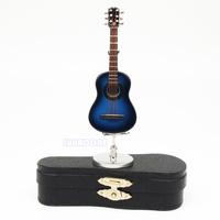 Metallic Light Blue Guitar Replica Miniature Dollhouse Figure Gift Toy Musical Instruments Children Guitar Acoustic Guitarra Toy