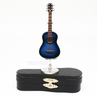 Metallic Light Blue Guitar Replica Miniature Dollhouse Figure Gift Toy Musical Instruments Children Guitar Acoustic Guitarra Toy