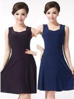 3Color M-4XL Big Size Sexy Women Dress Casual Lady One Piece Dress Sundress Purple Blue XL XXL XXXL XXXXL Dress,  HF5-6F