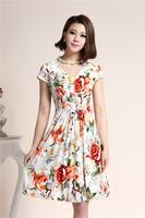 Summer quinquagenarian milk silk one-piece dress short-sleeve V-neck plus size clothing beach dress, HFFONESIX