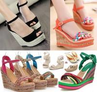 2014 elegant wedges sandals high heels platform wedges sandals women's bohemia platform high heel sandals plus size shoes