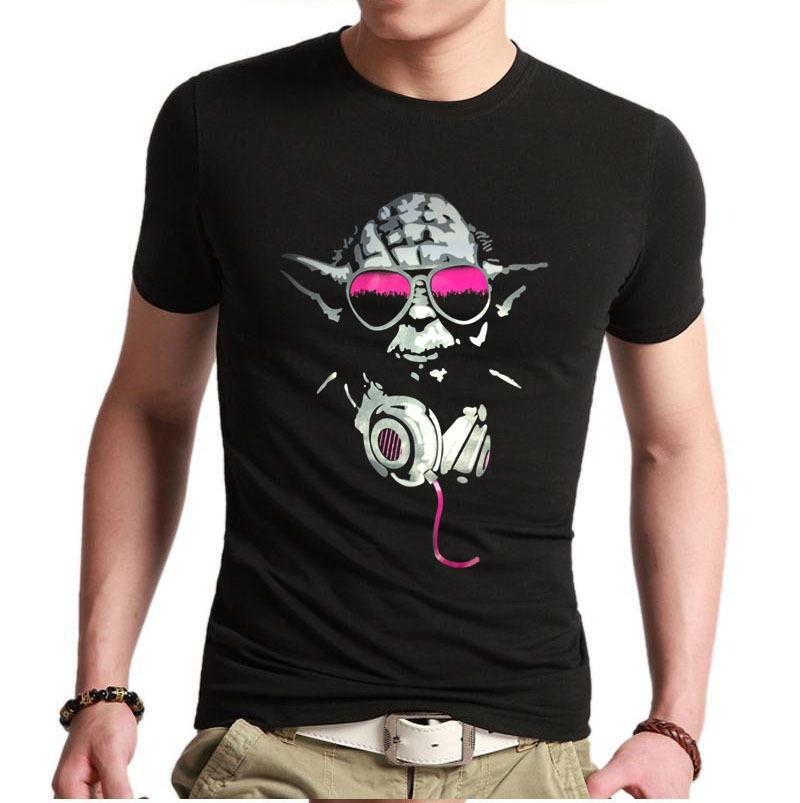 mens custom t shirts yoda cool dj hip hop star wars funny t shirts. Black Bedroom Furniture Sets. Home Design Ideas