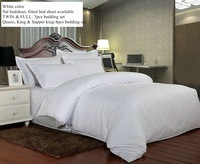 plain satin cotton 4 pieces white hotel bed linen king size bedding set