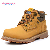 Autumn Men Boots Winter Work Boots Leather With Fur Classic Mens Yellow Botas Masculinas Male Ankle Shoes High Top Sneakers