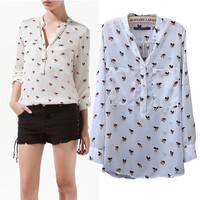 SZ064 2014 Fashion Women's Dog Print Cute Blouses Winter Summer Ladies V-Neck Chiffon Shirts Tops Blusas Femininas S&Z