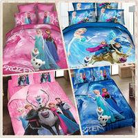 wholesale 10sets 3d bedding set cartoon cotton bed set  Princess Elsa Anna Olaf duvet cover bedclothes bed linen queen twin king