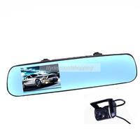"""Dash Cam HD 720P 4.3"""" Car Rearview Mirror DVR Allwinner A10 Chip Dual Lens Car Black Box H.264 Night Vision Car DVR"""