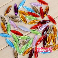 Free Shipping 100pcs 27x8cm  Mix colors Horse eyes Flatback Sew On stones 2Holes Sewing Crystal Stone