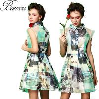 Silk Print Dress  Organza Embellished Collar Skater Dress Vintage Women Waisted A Line Dress with Shoulder Detail and Belt