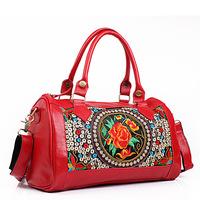 Bolsas Femininas 2014 Chinese Style  Restore Vintage Embroidered Genuine Leather ,  Yunnan Embroidery Woman Messenger Handbag