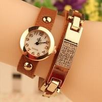 Free Shipping Brand Dress Watches New Fashion Rhinestone Quartz Watch Women Wristwatch Geniune Leather Strap Quartz Watch Brown