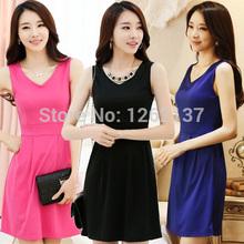 2014 Roupas Femininas Ladies V Neck mangas de Slim Plus Size vestido de cintura alta Sexy Verão Vestido Moda Barato Confecções China(China (Mainland))