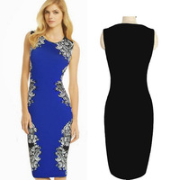 2014 Women's Celebrity Dress Evening Floral Dresses Vintage Printed Bodycon Pencil Party  Dresses Blue&Black