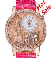 New 2014 Women Dress watches Fashion Luxury Brand Gogoey Rhinestone watches Paris tower / Triumphal Arch Leather Quartz Watches