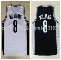 #8 Deron Williams Brand New Jerseys White/Black Basketball Jersey