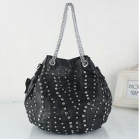 C1078 Free Shipping 2015 New Women Handbag Rivet Diamond Punk Style Metal Chain Drawstring Bucket Bag Women Messenger Bag