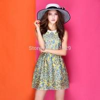 Hot Women Fashion Print Mini A-Line Dress Sleeveless One Piece Cute Girl Modern Tank Dress Ladies Summer Dress Peter Pan Collar