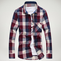 2014 new Fashion plaid long-sleeved shirts men, casual slim fit shirts for men,mens checked shirt freeshipping,4colors