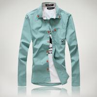 2014 autumn Free shipping men's long-sleeve shirt male shirt male slim high quality shirt M L XL XXL XXXL 4XL 5XL 6XL