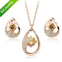 Free Shipping 18K Gold Plated High Quality Women Rhinestone Tear Drop CZ Zircon Pendant Necklace Earring Jewelry sets