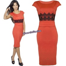 2014 New Women Work Wear Dress Bodycon Lace Shift Plus Size M-XL Fashion Evening Party Midi Pencil Dresses Vestidos Red 01666(China (Mainland))
