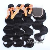 3 pcs Weft & 1 pc Closure Brazilian Virgin Human Hair Weft Body Wave ( 4*4 ) Free Part Top Lace Closure Grade 8a Natural Color