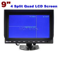 9 Inch 4 Split Quad LCD Screen Display Color Rear View Car Monitor DC12V - 24V For Car Truck Bus Reversing Camera Free Shipping
