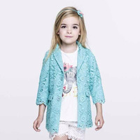 Fashion 2014 new arrival autumn children outerwear,famous brand girl lace coat,3 color cotton high quality kids coat girl, 2-8Y