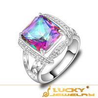 SALE Rainbow Fire Mystic Topaz  Hot Exquisite 925 Sterling Silver Plated Ring For Women  R0667 (USA Size #7 # 8 #9)