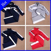 spring autumn 2015 fashion brand sports suit long sleeve alphabet baby boy set zipper kids clothes coat new clothing winter Swea