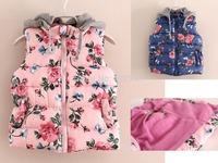 2014 brand designer fashion high quality girls vest kids floral autumn winter jacket kids fleece vest baby waistcoat